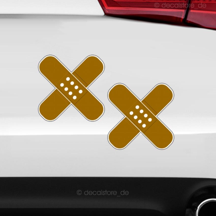2x pflaster auto aufkleber unfall kratzer delle sticker. Black Bedroom Furniture Sets. Home Design Ideas